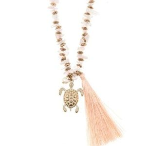 Turtle tassel pendant chipped gem necklace set